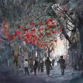 美国画家在中国,提笔